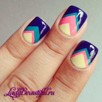 Дизайн ногтей при помощи скотча — геометрия