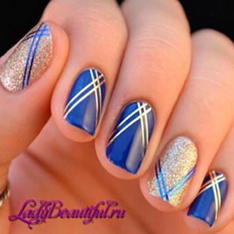 Весенний маникюр на коротких ногтях — Геометрия