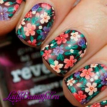 Фото: Цветы на ногтях - шеллак 2016: фото