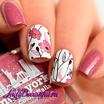 Фото: Цветы на ногтях - шеллак 2016
