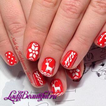 Дизайн ногтей с красным шеллаком фото