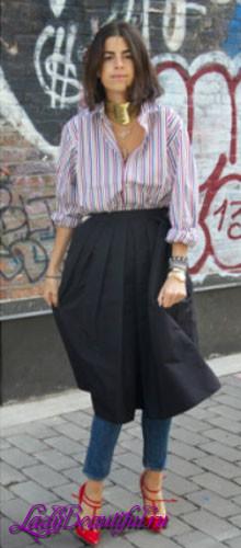 Джинсовая юбка поверх брюк