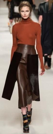 Модные кожаные юбки осень-зима 2016-2017