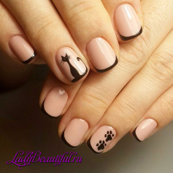 Фото френч на коротких ногтях с черными