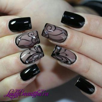 Идея дизайна ногтей в стиле Вуаль