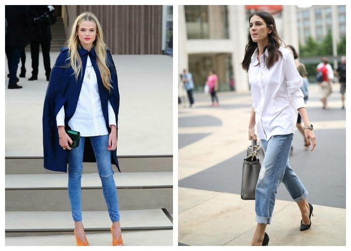 Как носить рубашку с джинсами девушке