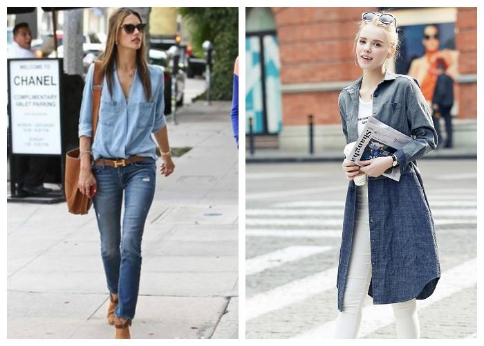 Как правильно носить джинсовую рубашку