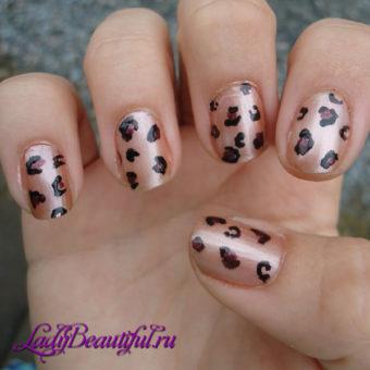 Леопардовый принт на короткие ногти