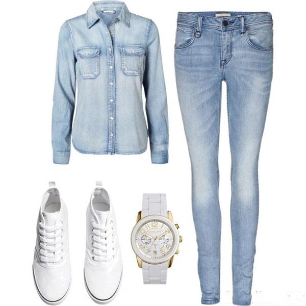 Модная одежда джинсы футболки