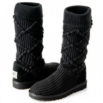 Модные вязанные угги осень-зима