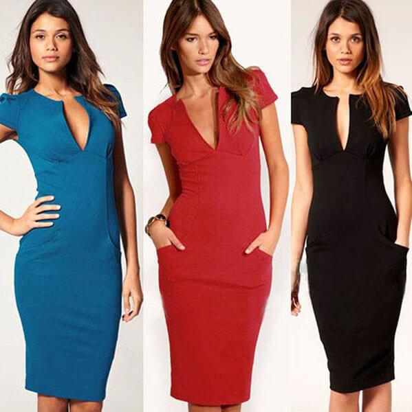 Модный офисный стиль весна-лето 2016 — Деловые платья с V-образным вырезом