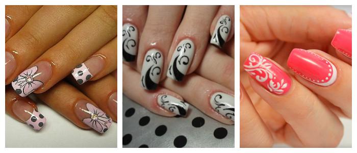 Рисунки на ногтях в домашних условиях: кисточкой