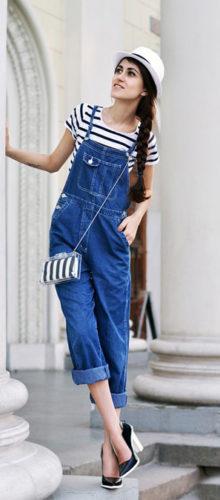С чем носить джинсовый комбинезон