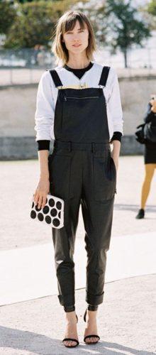 С чем носить черный комбинезон