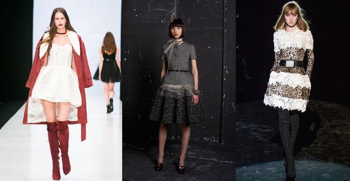 Модные луки с платьями осень-зима 2016-2017: новинки, фото