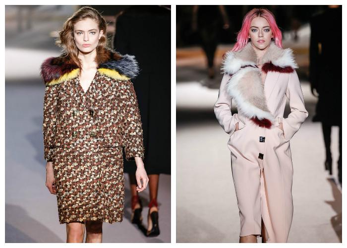 Модные пальто 2017: модные тенденции осень-зима - Меховая отделка