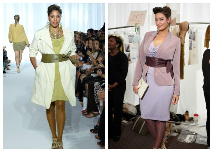 Одежда для полных женщин, фото. Широкие ремни и пояса визуально делают фигуру стройнее.
