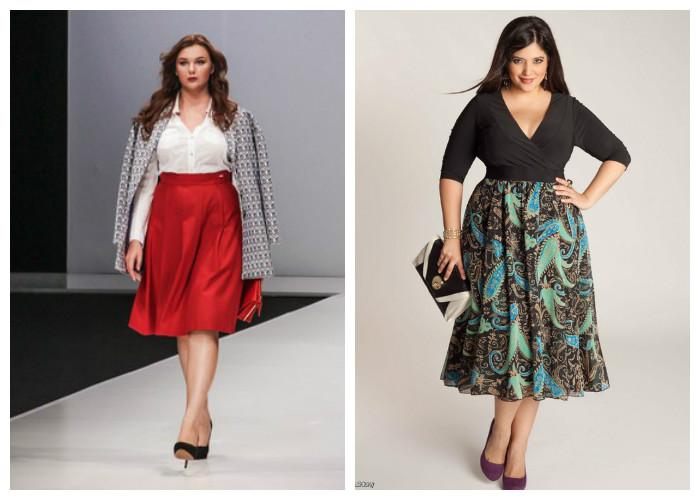 Одежда для полных женщин, фото. Юбка-солнце скроет широкие бедра, а V-образный вырез блузки подчеркнет красоту груди и визуально вытянет шею.