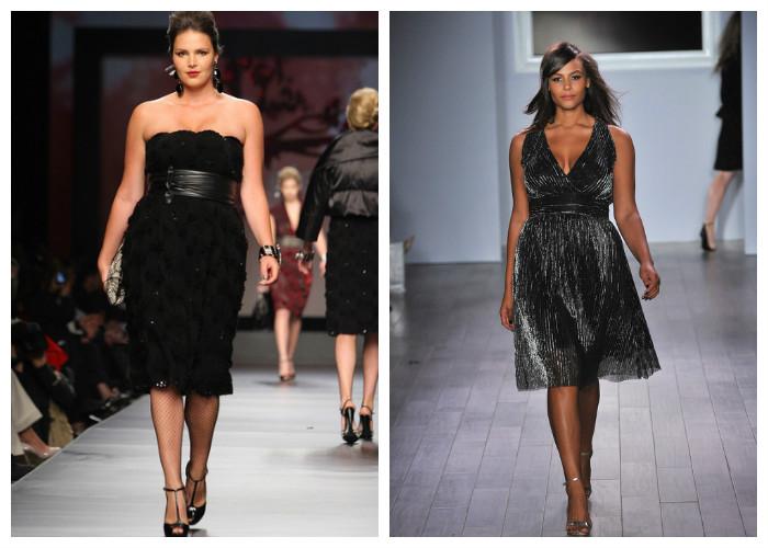 Одежда для полных женщин, фото. Все знают, что черный цвет стройнит. Особенно если это черное платье-карандаш или с свободной юбкой-солнце. Подчеркнуть талию можно широким поясом.
