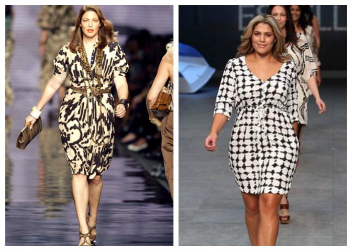 Одежда для полных женщин, фото. Лучший фасон платья — приталенное с V-образным вырезом, длиной до колена.