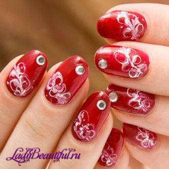 Фото рисунков на ногтях иголкой