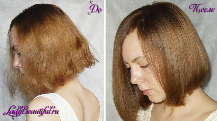 Ламинирование волос желатином до и после