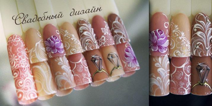 Свадебная роспись на длинных ногтях