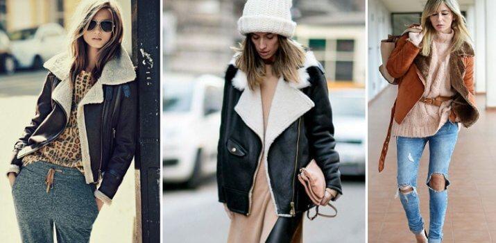 С чем носить короткую дубленку зимой