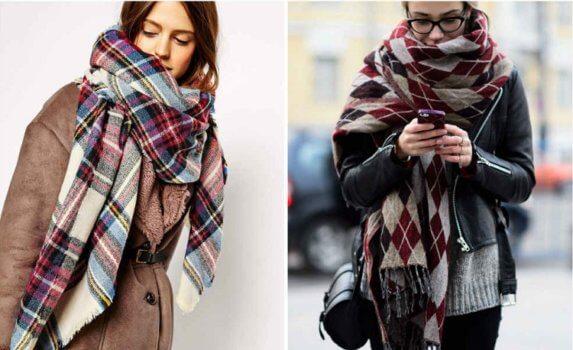 Модные-шарфы-клетка - тренды осени